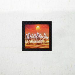 eCraftIndia 'Lucky Horses Design' UV Art Painting (Synthetic Wood, 30.48 cm x 1.27 cm x 30.48 cm, Orange)