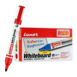 Luxor 1223 Refillable White Board Marker - Red - Box of 10
