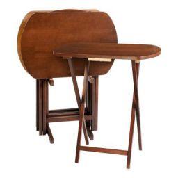 Amazon Brand - Solimo Oval Folding Table (Walnut)