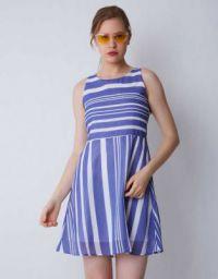 Provogue Women Fit and Flare Light Blue Dress
