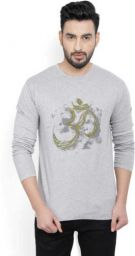 Billion PerfectFit Graphic Print Men Round or Crew Grey T-Shirt