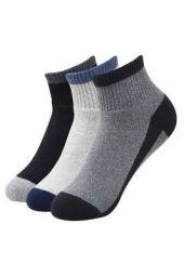 Balenzia Men Cushioned High Ankle Socks for Sports- Dark Grey, Light Grey, Black -Pack of 3