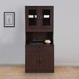 HomeTown Libya Engineered Wood Crockery Cabinet in Walnut Colour