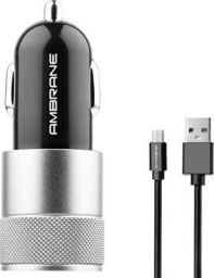 Ambrane ACC-74-M 2.4A Dual Port Car Charger for All Smartphones with Micro USB Cable (Black and Silver)