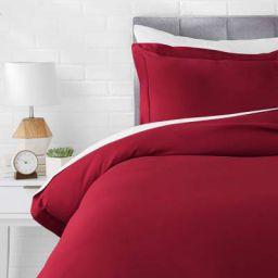 AmazonBasics Microfiber 2-Piece Quilt/Duvet/Comforter Cover Set - Single, Burgundy - with pillow cover