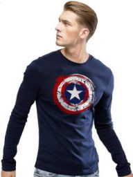 Superhero Men's Round Neck Dark Blue T-Shirt