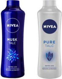 Nivea Original Pure and Musk Talc  (2 x 400 g)