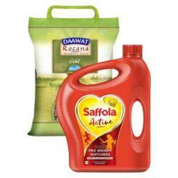 Saffola Active Oil 5 L (Jar) + Daawat Rozana Gold Basmati Rice 5 kg Combo Pack