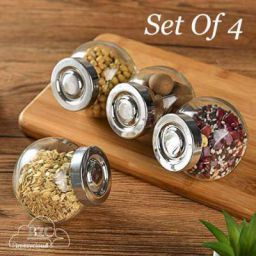 Brezzycloud Spice Glass Storage Jar with Air Tight Lid (200ml) Set of 4