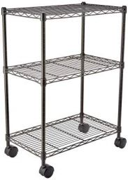 (Renewed) AmazonBasics Height Adjustable 3-Shelves Heavy Duty Rack with Wheels- Black