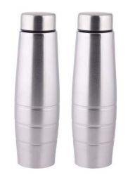Zafos Stainless Steel Fridge Water Bottle,2 Pc Set, 1000 Ml,Silver