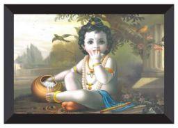 SAF 'Kanha' UV Teatured Digital Reprint Framed Painting (20 inch X 14 inch)