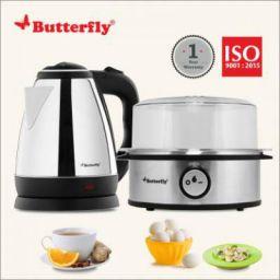 Butterfly Electric Kettle (1.8L, Black) & Egg Boiler