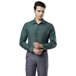 Next Look Solid Dark Green Coloured Cotton Blend Shirt
