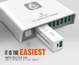 Live Tech Power Charger with 6 USB Ports,1 Portable Powerbank 40W Fast Turbo Charger Adapter Station Hub