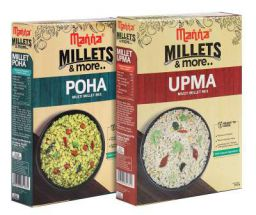Manna Ready to Eat Millet Poha & Ready to Cook Millet Upma, Breakfast Combo Pack of 2, 180g Each