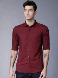 HIGHLANDER Men Maroon Slim Fit Solid Casual Shirt