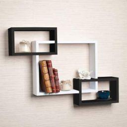 Santosha Decor Black and White MDF Wall Shelf Rack Set of 3 Intersecting Wall Shelves