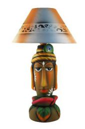 Kinora M-31 Lord Krishna Blue Orange Patterned Shade Terracotta Table Lamp