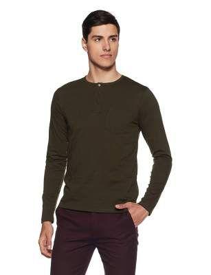 Amazon Brand - Symbol Men's Solid Regular Fit Full Sleeve Cotton T-Shirt