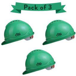 Allen Cooper Industrial Safety Helmet SH-722, Shell with Ventilation, Plastic Cradle with Ratchet adjustable Headband - GREEN (Pack Of 3)