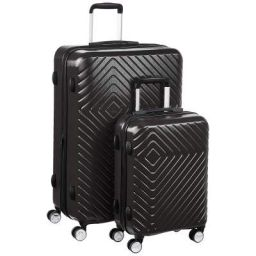 AmazonBasics Geometric Luggage - 2 piece Set (55cm, 78cm), Black