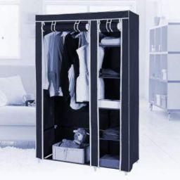 KriShyam KriShyam Clothes Storage Wardrobe with 6 Shelves Organizer for Clothes Shoes Toys Collapsible Closet/Cabinet Foldable Wardrobe 2 Door / 6 Shelves / 1 Hanger(Navy Blue) Metal 2 Door Wardrobe