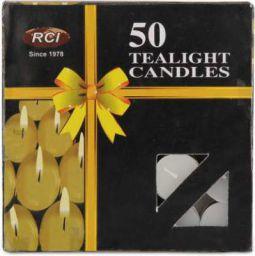 AuraDecor Smokeless Tealight 2 hour Burning Candle (White, Pack of 50)