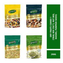 Happilo Premium Dry Fruits Combo 1 (Trial Mix, Nut Mix, Raisins, Pumpkin Seeds) Pouch, 290 g
