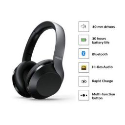 (Renewed) Philips Performance TAPH802BK Hi-Res Audio Bluetooth 5.0 Over-Ear Headphones
