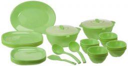 Signoraware Plastic Dinnerware Set, 32-Pieces, Green