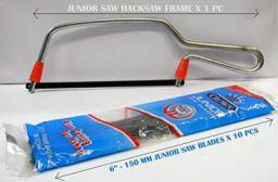 Impact Steel Junior Saw Mini Hacksaw Frame with Crown Spare Blades (Black)