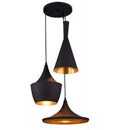 Groeien® 3-Light Industrial Black Finish Metal Shade Hanging Pendant Ceiling Lamp Fixture Tulip Cone Disc (Black)