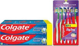 Colgate Anti-Cavity Strong Teeth Toothpaste - 500 gm with ZigZag Toothbrush Medium Medium Toothbrush  (6 Toothbrushes)