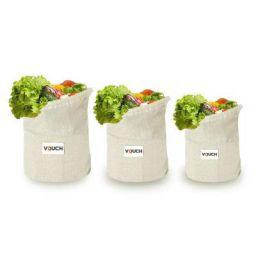 Vouch 12 Piece Cotton Muslin Reusable Fridge Storage Cotton Bag, Beige