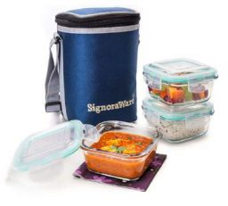 Signoraware Director High Borosilicate Bakeware Safe Glass Lunch Box Set with Bag, 3-Pieces
