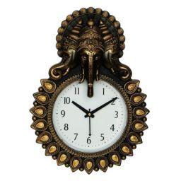 Webelkart Designer Stones Lord Ganesha Plastic Wall Clock (Copper-12 Inch)