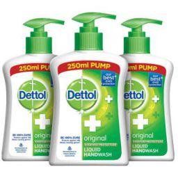Dettol Original Germ Protection Handwash Liquid Soap Pump, 250ml (Pack of 3)