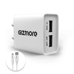 GIZMORE GIZ PA604C 2.4A Universal Fast Charging Dual USB Port Wall Adapter with Type-C Cable (White)