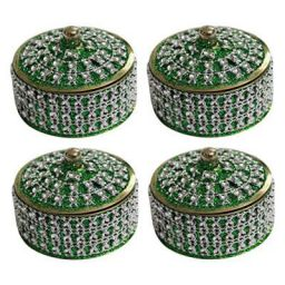 Angelic Brass Jewellery Box (7 cm x 7 cm x 5 cm, Green, Set of 4)