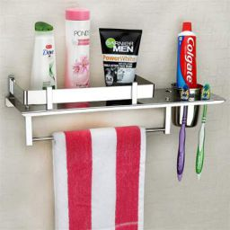 Plantex Stainless Steel 3 in 1 Multipurpose Bathroom Shelf / Rack