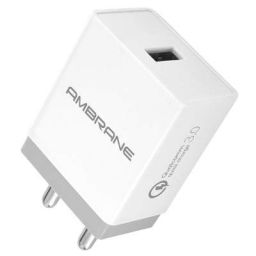 Ambrane 18W 3A Charger (Qualcomm Certified) with Quick Charge 3.0 + Free Micro USB Cable