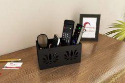 Home Sparkle Multipurpose Wooden Organizer Cum Holder for Remotes  Mobile Phones  Kitchen and Desk Accessories (Black)