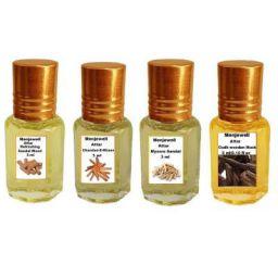 Menjewell Refreshing Sandalwood, Chandan-E-Khas, Mysore Sandal & Oudhwood Fragrances Attar, 3 ml (Pack of 4)