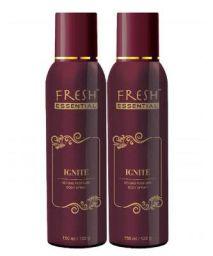 Fresh Essential No Gas Perfume Body Spray - Ignite, 150 ml / 122g (Pack of 2)