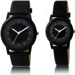 Varni Fashion New Arrival Stylish Black Leather Analog Watch For Couple