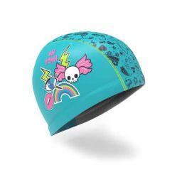 Nabaiji 8547579 Swim Cap Silicone Mesh- Printed Roller, S (Blue)