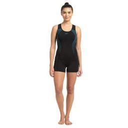 Speedo Placement Racerback Legsuit For Women (Size: 36,Color: Black/Nordic Teal)