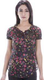 Amadore Casual Short Sleeve Printed Women Black Top