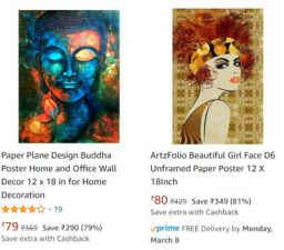 Posters Minimum 70% to 90% off Starting @ Rs 57